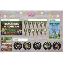 Kit Minecraft Invitaciones Stickers Cartel Banderín Ymas