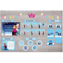 Kit Frozen! Cartel, Banderín, Invitaciones, Stickers Y Mas..