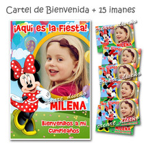 Minnie Souvenirs Cumpleaños + Cartel Bienvenida Con Foto