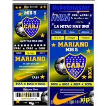 Tarjeta Invitacion Cumple Boca Juniors Tipo Entrada.