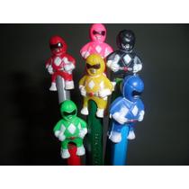 6 Lapices Negros Power Rangers Souvenir Reyes Torta Novedad