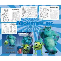 Kit Imprimible Libritos Monster Inc De Actividades Pintar