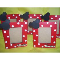 Portarretratos Mickey Minnie Con Nombre En Fibrofacil