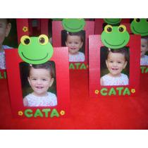 Portarretratos Sapo Pepe Minnie Con Nombre En Porcelana Fría