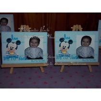 Atril,cuadrito Con Foto Mickey Y Minnie Bebes,1º Añito