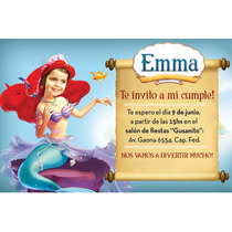Invitaciones Personalizadas De La Sirenita