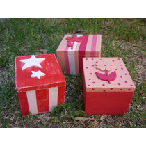 Cajas Decoradas Con Relieve En Madera. Souvenirs Regalo
