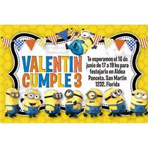 Minions Tarjeta Cumpleaños Invitaciones Personalizadas X 20