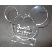 Souvenir Acrílico Cumpleaños Mickey, Con Nombre Grabado