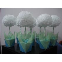 Topiarios Flores Papel De Seda Artesanales Centro De Mesa