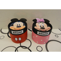 Mickey Y Minnie Souvenir Cajita Golosinera 8,5x 8,5