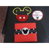 Tarjeta / Invitacion Artesanal Y Sobre De Mickey Mouse