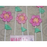 10 Tutores Flores Souvenirs Nacimiento Porcelana Fria