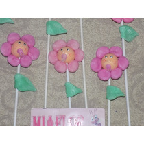 Combo 10 Tutores Flores Souvenirs Nacimiento Porcelana Fria