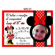25 Invitaciones Cumpleaños Minnie Mouse Con Foto