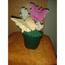 Flores Y Mariposa De Goma Eva Con Maceta
