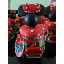 Souvenir Frasquito Hexagonal De Vidrio Mickey - Minnie