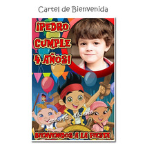 Cumpleaños Jake Y Los Piratas Cartel De Bienvenida Con Foto