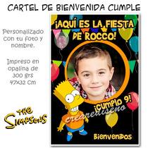 Bart Simpson Cartel De Cumpleaños Bienvenida Con Tu Foto