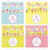 Kit Imprimible Cupcake Helados Dulces Candy Bar Cumpleaños