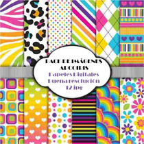 Kit Imprimible Pack Fondos Arcoiris Coloridos Clipart