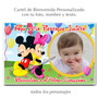 Cartel De Bienvenida Mickey Y Minnie Personalizado Con Foto