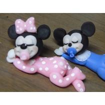 10 Souvenirs De Mickey & Minnie Bebes- Porcelana Fría