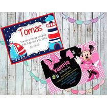 Tarjetas Invitaciones X12u 14x10 Todos Los Personajes Foto