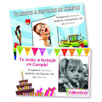 Tarjetas Invitaciones Personalizadas Cumpleaños Pack X16