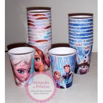 Vasos Artesanales Descartables Para Cumples, Frozen, Elsa