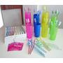 12 Cepillos Dentales + 12 Vasos Plásticos Ideal Souvenir