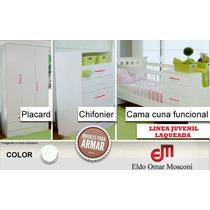 Cuna Funcional + Chiffonier 5 Cajones + Placard 3 Ptas.
