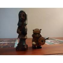 Talla En Madera De El Quijote Y Sancho Panza, Antiquisimas
