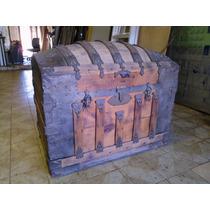 Cofre Baul Colonial Grande Super Raro Y Decorativo.