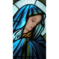 Vitral Antigua Virgen Dolorosa 0,60 X 0,80 Pintada A Fuego