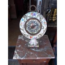 Antiguo Reloj De Porcelana Y Bronce Petit Paris