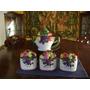 Antigua Tetera Y Tres Bowls Para Te, Azucar Y Cafe Italia