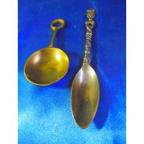 El Arcon Par De Antiguas Cucharas De Bronce Y Metal 15080