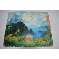 Antigua Pintura Oleo De Paisaje