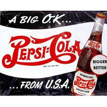 Carteles Antiguos En Chapa Gruesa 20x30cm Pepsi Cola Dr-021