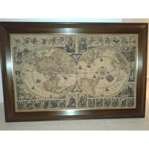 Mapa Antiguo En Tela Y Enmarcado