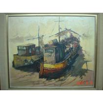 Cuadro Barca Sabalera Alberto Gini Certif. Autenticidad