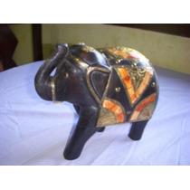 Antiguo Elefante Indu De Madera Y Cobre Para Decoracion