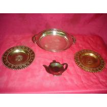 Lote 4 Bandejas Vintage Impecables Metal ((0267x)