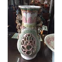 Antiguo Jarron De Ceramica Con Flores Sano Impecable