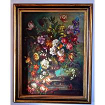 Pintura Europea. Flores. Firmado.