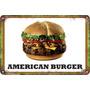 Carteles Antiguos De Chapa 60x40cm Burger Hamburguesa Al-047