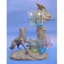 Escultura Petit Perro Ovejero Alemán Con Vasos De Licor