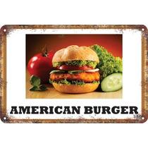 Carteles Antiguos De Chapa 60x40cm Burger Hamburguesa Al-046