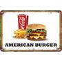 Carteles Antiguos De Chapa 60x40cm Burger Hamburguesa Al-050